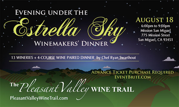 Pleasant Valley Wine Trail's winemakers' dinner will be August 18, 2018