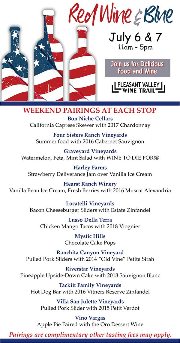 Travel the Pleasant Valley Wine Trail for some American fun on July 6, 2019