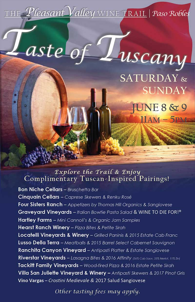 This year's Taste of Tuscany will be June 8 & 9, 2019