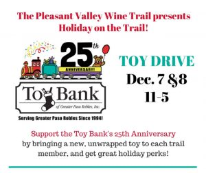 Pleasant Valley Wine Trail Toy Drive is December 7-18, 2019